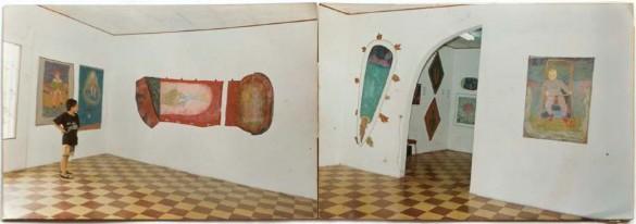 Imagen 10. Vistas de Wilson Díaz se vende. (Wilson Díaz, 1993). Realización de trabajos del artista en la Galería Valencia de Pitalito. Fotografía color 35mm. Archivo Wilson Díaz.