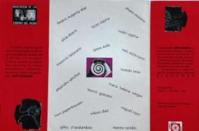 Imagen 7. Invitación plegable para la exposición Arte Sonoro. Instituto Distrital de Cultura y Turismo, 1995. Impresión litográfica sobre cartulina, 21x28cm. Archivo Wilson Díaz.