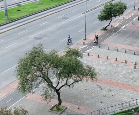 Imagen 3. Vendedor ambulante con bandera roja. Bogotá, (27 de abril de 2020). Fotografía: Marcos González Pérez