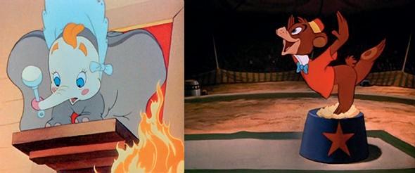 Imagen 1. Utilización de animales en Disney para el entretenimiento de la humanidad [Serie fotográfica]. Fuentes: (de izquierda a derecha) (Disney, 1941) y (Disney, 1947).