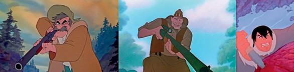 Imagen 2. Los cazadores etiquetados como personajes malvados en Disney [Serie fotográfica].Fuentes: (de izquierda a derecha) (Miller, Reitherman y Stevens, 1981); (Schumacher, 1990) y (Williams, 2003).