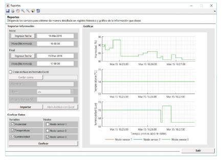 Interfaz gráfica de usuario desarrollada para generar reportes.