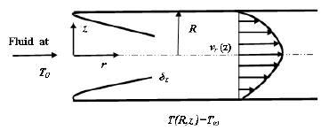 Schematics of the Lévêque problem and the coordinate system.