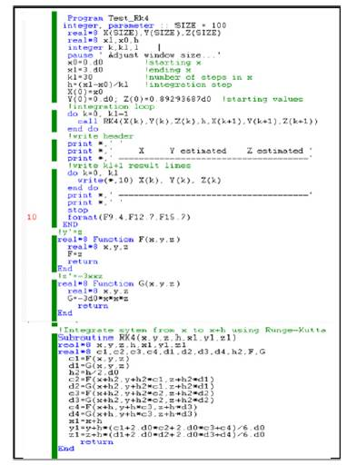 Fortran code of Runge Kutta for set of first order differential equations.