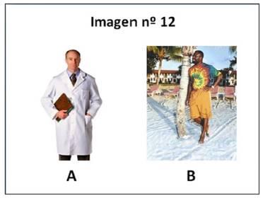 Ejemplo de imagen estereotipada y no estereotipada de científico, A es un actor y B, el científico nigeriano Philip Emeagwali.