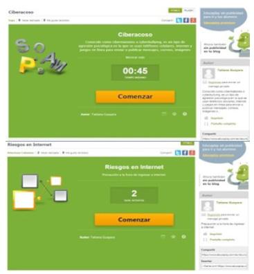 Actividad de sopa de letras ciberacoso y relación de parejas para riesgos en internet.