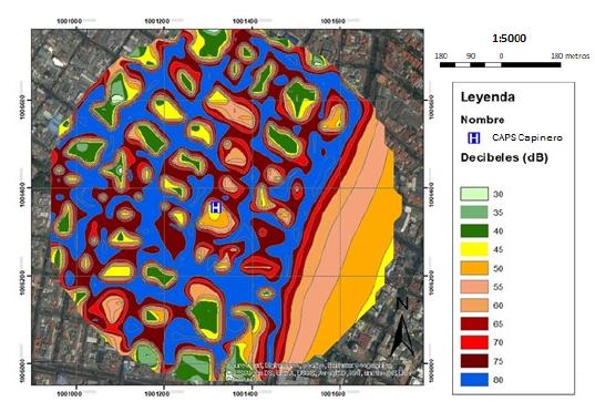 Mapa de distribución de ruido CAPS de Chapinero.