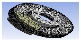 Meshed model of disc brake assembly.
