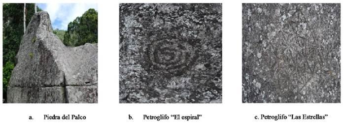"""Recursos turísticos ubicados en el Piedra del Palco petroglifos """"El espiral y las Estrellas""""."""