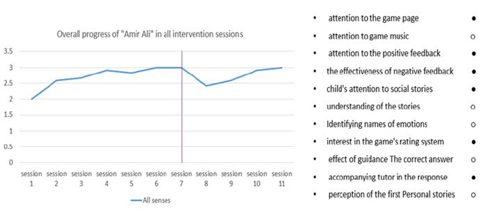Overall progress of 'Amir Ali' during all intervention sessions.