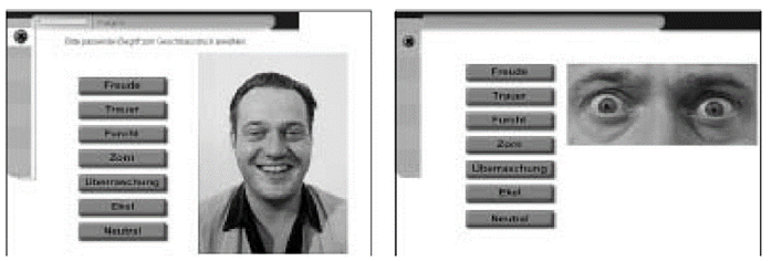 A computer-based programme for measuring facial recognition with focus on the eye area and then on the entire face based on the seven emotions defined by Ekman.