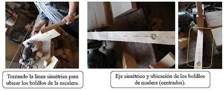 Ubicación de las piezas sobre el eje (eje de simetría).