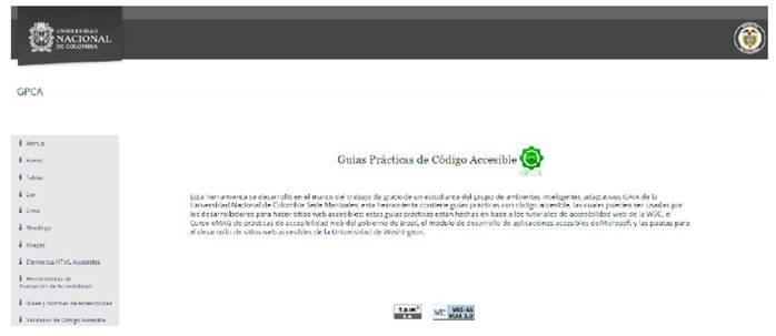 Página principal de la herramienta GPCA