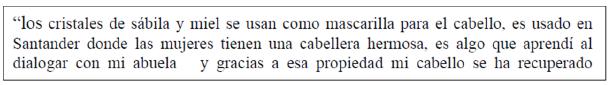 Fragmento de explicación de la mascarilla capilar de sábila de la feria de productos naturales.