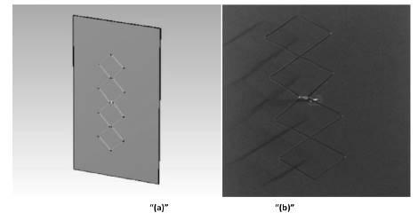 """""""(a)"""", """"(b)"""". Simulación y construcción de la antena doble biquad"""