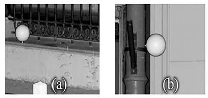 (a) Esfera con ubicación apropiada para referenciar mediante mediciones con estación total. (b) Esfera que no posee una ubicación apta para colocar el miniprisma