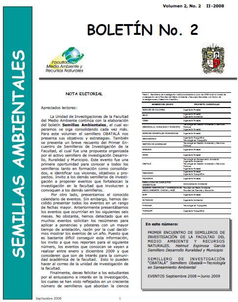 Ver Vol. 2 Núm. 2 (2008): Boletín Semillas Ambientales