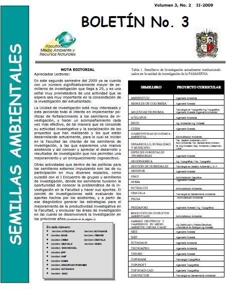Ver Vol. 3 Núm. 2 (2009): Boletín Semillas Ambientales
