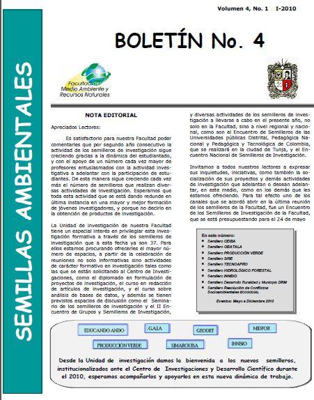 Ver Vol. 4 Núm. 1 (2010): Boletín Semillas Ambientales