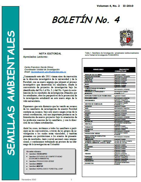 Ver Vol. 4 Núm. 2 (2010): Boletín Semillas Ambientales