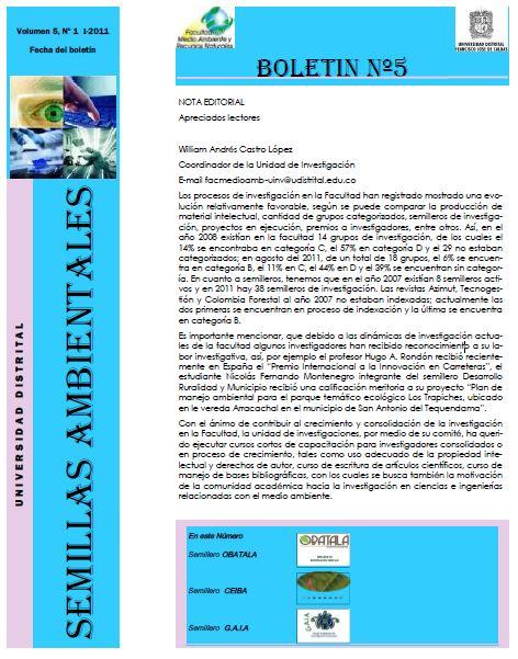 Ver Vol. 5 Núm. 1 (2011): Boletín Semillas Ambientales