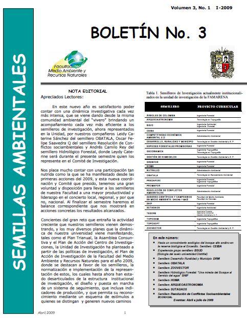 Ver Vol. 3 Núm. 1 (2009): Boletín Semillas Ambientales