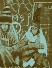 """""""Three brides"""" acrílico sobre foto-impresión sobre vinilo, 100x140cm, Saule Suleimenova, 2008. Imagen cortesía de la artista"""